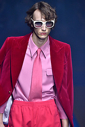 Model Thomas Riguelle walks on the runway during the Gucci Fashion Show during Milan Fashion Week Spring Summer 2018 held in Milan, Italy on September 20, 2017. (Photo by Jonas Gustavsson/Sipa USA)
