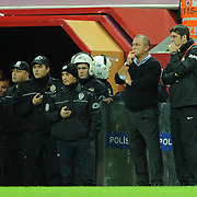 Galatasaray's coach Fatih TERIM (2ndR) during their Turkish Superleague Galatasaray between Gaziantepspor at the TT arena in Istanbul Turkey on Wednesday 26 October 2011. Photo by TURKPIX
