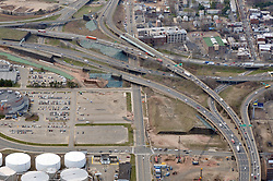 """Pearl Harbor Memorial """"Q"""" Bridge, East Bound Approaches just west of Bridge. I95 I91 Route 34 Interchange Aerial Photograph. Showing Water Street vertical center, Long Wharf Drive bottom left, Wooster Street and Ramp upper right and East Street bottom right."""