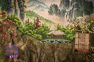 Wall mural in An Lac Hotel of a mystical jungle scene, Muong Khen, Vietnam, Southeast Asia