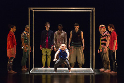 © Licensed to London News Pictures. 10/04/2015. London, England. Annie Edwards performing at the centre. Dress rehearsal of Frame[d]. The National Youth Dance Company returns to Sadler's Wells to premiere Frame[d], a new work created by the 2014-15 Guest Artistic Director Sidi Larbi Cherkaoui. The performance takes place on 10 April 2015 with dancers of the ages from 15 to 20. Photo credit: Bettina Strenske/LNP