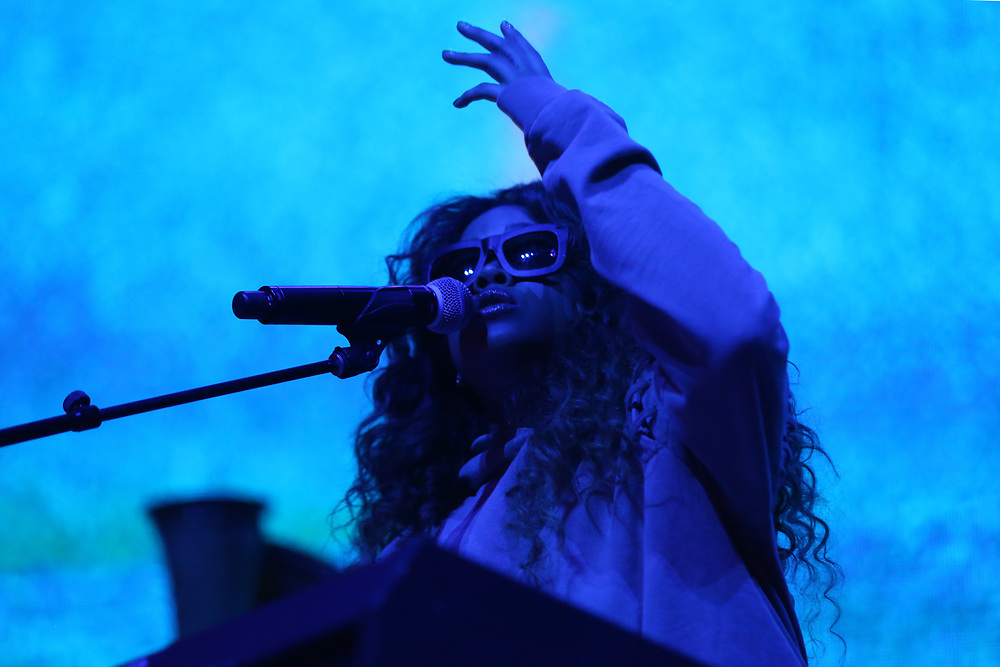 H.E.R. performs at the 2017 BET Experience at The Staples Center on Friday June 23, 2017, in Los Angeles. (Photo by Willy Sanjuan/Invision/AP)
