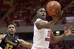 14 February 2015:   John Jones wrangles in a loose ball during an NCAA MVC (Missouri Valley Conference) men's basketball game between the Wichita State Shockers and the Illinois State Redbirds at Redbird Arena in Normal Illinois