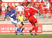 Fotball<br /> 07.08.2004<br /> Foto: SBI/Digitalsport<br /> NORWAY ONLY<br /> <br /> Date: 07/08/2004.<br /> Coca Cola League Two <br /> Leyton Orient V Macclesfield Town 07/08/2004<br /> <br /> Macclesfield Town's Jon Parkin beats Leyton Orient's John Mackie to score his second and his team's third goal