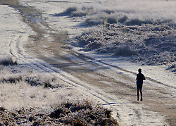© Licensed to London News Pictures. 02/12/2012. Richmond, UK A jogger runs through the heavy frost. Deer, joggers and dog walkers wake up to a golden frosty morning in Richmond Park, Surrey, today 2nd December 2012. Photo credit : Stephen Simpson/LNP