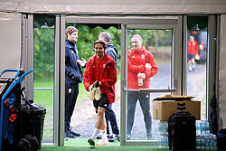CARDIFF, WALES - Sunday, October 14, 2018: Wales' Joe Allen and James Chester during a training session at the Vale Resort ahead of the UEFA Nations League Group Stage League B Group 4 match between Republic of Ireland and Wales. (Pic by David Rawcliffe/Propaganda)