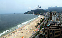 Football Fifa World Cup Brazil 2014 / <br /> Ipanema Beach - Rio de Janeiro - Brazil -<br /> Panoramic View of Ipanema Beach and Hill of Brothers ( Avenue Viera Souto ) , From the Roof - Cesar Park Hotel-Ipanema Beach ,<br /> The Dutch National Football Team, is will host Cesar Park Hotel , during the next Fifa World Cup Brazil 2014