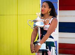 January 27, 2019 - Melbourne, AUSTRALIA - Naomi Osaka of Japan takes her winners trophy to Brighton Beach after winning the 2019 Australian Open Grand Slam tennis tournament (Credit Image: © AFP7 via ZUMA Wire)