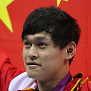 Yang Sun, China, winning the Gold Medal and breaking the world record in the Men's 1500m Freestyle event at the Aquatic Centre at Olympic Park, Stratford during the London 2012 Olympic games, London Olympics. London, UK. 4th August 2012. Photo Tim Clayton