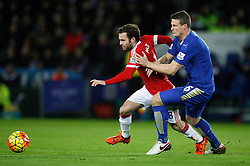 Juan Mata of Manchester United (L) and Robert Huth of Leicester City in action  - Mandatory byline: Jack Phillips/JMP - 07966386802 - 28/11/2015 - SPORT - FOOTBALL - Leicester - King Power Stadium - Leicester City v Manchester United - Barclays Premier League