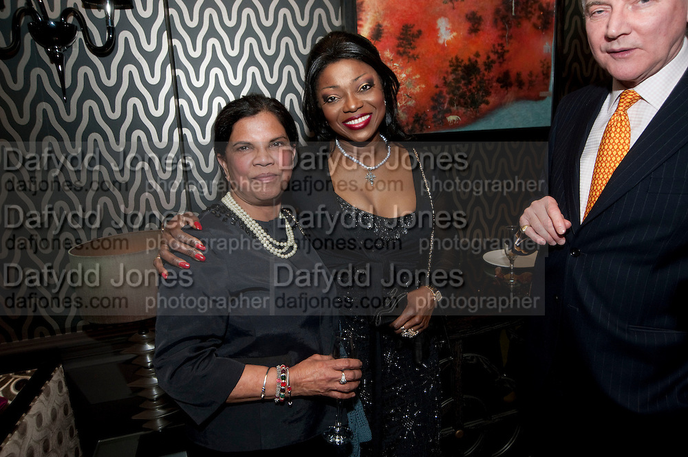 MALTI O'MAHONY; PATTI BOULAYE; , Liz Brewer GIVES A PARTY TO WELCOME 2010, Champagne <br /> Flemings Mayfair, 13 Half Moon Street, London. 5 January 2010