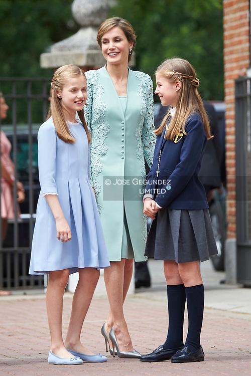 Queen Sofia of Spain, Princess Sofia, Crown Princess Leonor leave Asuncion de Nuestra Senora Church after the First Communion of Princess Sofia on May 17, 2017 in Aravaca near of Madrid.