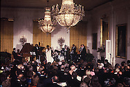 Sarah Vaughn and Dizzy Gillespie perform in the White House East Room at a State Dinner for the  Shah of Iran on November 15, 1977.<br /> Photo by Dennis Brack
