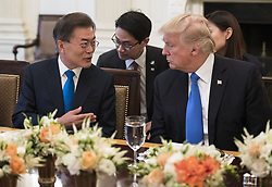 June 29, 2017 - Washington, District of Columbia, United States of America - United States President Donald J. Trump (R) and South Korean President Moon Jae-in address the media prior to dinner, in the State Dinning Room at the White House in Washington, D.C. on June 29, 2017.  .Credit: Kevin Dietsch / Pool via CNP (Credit Image: © Kevin Dietsch/CNP via ZUMA Wire)