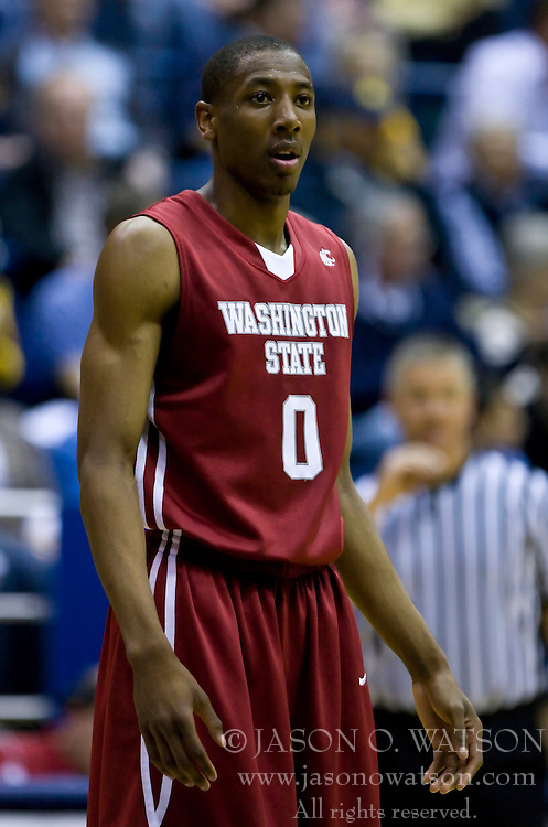 February 13, 2010; Berkeley, CA, USA;  Washington State Cougars guard Marcus Capers (0) during the first half against the California Golden Bears at the Haas Pavilion.  California defeated Washington State 86-70.