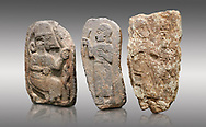 Hittite monumental relief sculptures, 900 - 700 BC, from Adana Archaeology Museum, Turkey. Against a grey background .<br /> <br /> If you prefer to buy from our ALAMY STOCK LIBRARY page at https://www.alamy.com/portfolio/paul-williams-funkystock/hittite-art-antiquities.html . Type - Adana - in LOWER SEARCH WITHIN GALLERY box. Refine search by adding background colour, place, museum etc.<br /> <br /> Visit our HITTITE PHOTO COLLECTIONS for more photos to download or buy as wall art prints https://funkystock.photoshelter.com/gallery-collection/The-Hittites-Art-Artefacts-Antiquities-Historic-Sites-Pictures-Images-of/C0000NUBSMhSc3Oo
