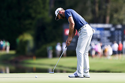 September 22, 2017 - Atlanta, Georgia, United States - Dustin Johnson putts the 15th green during the second round of the TOUR Championship at the East Lake Club. (Credit Image: © Debby Wong via ZUMA Wire)