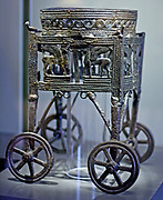 Wheeled bronze wagon built for a cauldron 12-11 th century BC from Larnaka Cyprus, Greek.