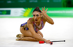England's Mimi-Isabelle Cesar competes in the Team Final and Individual Qualification Sub Division 2 at the Coomera Indoor Sports Centre during day seven of the 2018 Commonwealth Games in the Gold Coast, Australia.