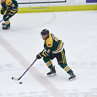 1st year defence man, Mike Eskra (10) of the Regina Cougars during the Men's Hockey Home Game on Fri Oct 12 at Co-operators Center. Credit: Arthur Ward/Arthur Images