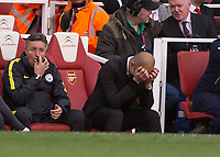 Football - 2016 / 2017 Premier League - Arsenal vs. Manchester City.<br /> <br /> Pep Guardiola Manager of Manchester City shows the frustration at his teams performance and refereeing decisions at The Emirates.<br /> <br /> COLORSPORT/DANIEL BEARHAM