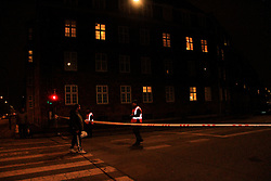 Soldiers cordon off the street near the shooting site in Copenhagen, Denmark, on Feb. 14, 2015. One man was killed and three police officers were wounded Saturday afternoon at a shooting in Danish capital of Copenhagen, police said. EXPA Pictures © 2015, PhotoCredit: EXPA/ Photoshot/ Shi Shouhe<br /> <br /> *****ATTENTION - for AUT, SLO, CRO, SRB, BIH, MAZ only*****