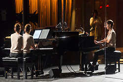 """© Licensed to London News Pictures. 24/10/2019. LONDON, UK. The pianist at a rehearsal of the UK premiere of """"For Four Walls"""", choreographed by Petter Jacobsson and Thomas Caley, performed by CCN-Ballet de Lorraine to a solo piano score, at the Royal Opera House in Covent Garden.  The choreography takes place inside a mirrored space and is a re-imagined piece based on a once-lost 1944 work called """"Four Walls"""".  The show is part of this years Dance Umbrella Festival which runs to 27 October.   Photo credit: Stephen Chung/LNP"""