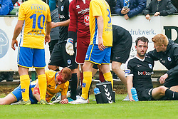 July 1, 2017 - Genk, BELGIUM - Termien's Pieter Jeunen and Genk's Dries Wouters lie injured on the ground during a friendly soccer game between Eendracht Termien and RC Genk, in Genk, Saturday 01 July 2017, the first friendly game of Jupiler Pro League team RC Genk. BELGA PHOTO BRUNO FAHY (Credit Image: © Bruno Fahy/Belga via ZUMA Press)