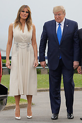 French President Emmanuel Macron and his wife Brigitte Macron welcome US President Donald Trump and US First Lady Melania Trump at the Biarritz lighthouse, southwestern France, ahead of a working dinner on August 24, 2019, on the first day of the annual G7 Summit. Photo by Thibaud Moritz/ABACAPRESS.COM