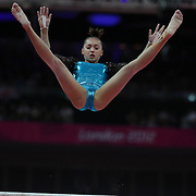 Larisa Andreea Iordache, Romania, in action on the Uneven Bars during the Women's Individual All-Around competition at North Greenwich Arena, during the London 2012 Olympic games. London, UK. 2nd August 2012. Photo Tim Clayton