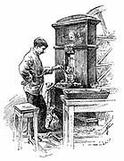 Coining Press at the Royal Mint, London. Wood engraving 1891