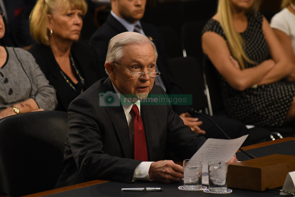 June 13, 2017 - Washington, District of Columbia, U.S - Attorney General answers questions put to him by the members of the Senate Intelligence Committee about the Russians hacking the election. (Credit Image: © Mark Reinstein via ZUMA Wire)