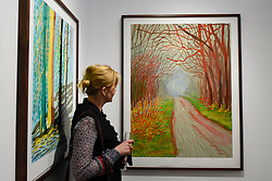 "© Licensed to London News Pictures. 03/05/2017. London, UK. A visitor views a print of an iPad drawing called ""The Arrival of spring in Woldgate, East Yorkshire"", 2011, by David Hockney at the preview of the 32nd London Original Print Fair at the Royal Academy of Arts in Piccadilly.  51 international specialist dealers are presenting works in the print medium to buyers from 4 May to 7 May. Photo credit : Stephen Chung/LNP"