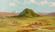 Mount Tabor Coloured Illustration of from the book Palestine illustrated by Sir Richard Temple, 1st Baronet, GCSI, CIE, PC, FRS (8 March 1826 – 15 March 1902) was an administrator in British India and a British politician. Published in London by W.H. Allen & Co. in 1888