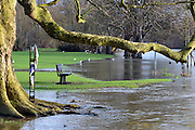 © Licensed to London News Pictures. 03/02/2014. Sunbury, UK. The river encroaches onto playing fields. Flooding along the banks of the River Thames in Sunbury in Surrey today 3rd February 2014. Photo credit : Stephen Simpson/LNP