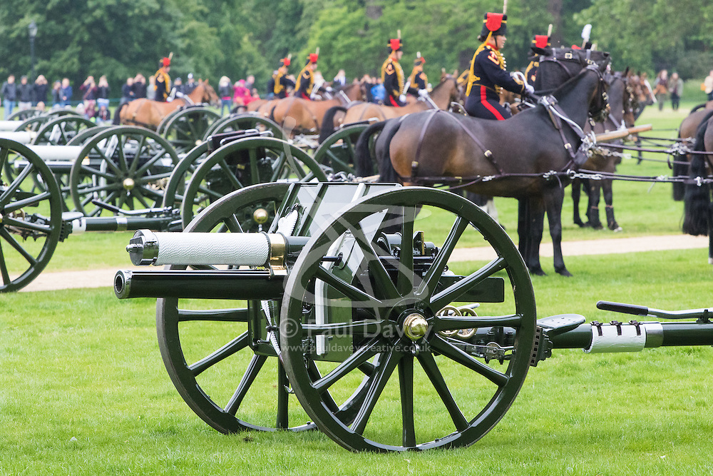 Hyde Park, London, June 2nd 2016. Soldiers and guns of the King's Troop Royal Horse Artillery fire a 41 round Royal Salute to mark the 63rd anniversary of the coronation of Britain's Monarch HM Queen Elizabeth II. PICTURED: The mounted troops collect the guns following the salute.