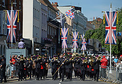 Members of the armed forces during a parade rehearsal in Windsor, Berkshire ahead of the wedding of Prince Harry and Meghan Markle this weekend.