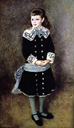 Little Girl  with a Blue Sash' oil on canvas by Pierre August Renoir (1841-1919) French Impressionist painter. Full length image of girl in dark dress with lace collar and cuffs, silver buttons, blue bow and sash.
