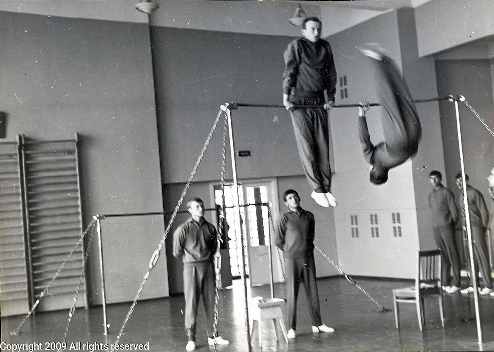 Soviet military students practice gymnastics. ..Russian military school at the Leningrad State University in 1969 which was celebrating 100 years of the birth of Lenin.