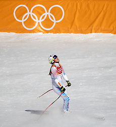 February 17, 2018 - Pyeongchang, South Korea - Lindsey VONN of USA tied for sixth place and reacts to her run during the Ladies' Super-G at the Jeongseon Alpine Centre during the 2018 Pyeongchang Winter Olympic Games. (Credit Image: © Daniel A. Anderson via ZUMA Wire)