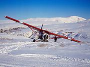 De Havilland DHC3 Otter which careened off the Bonanza Hills Strip after left gear encountered soft snow, Alaska.