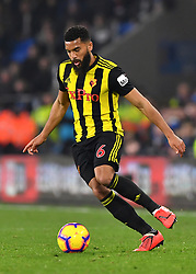 Watford's Adrian Mariappa in action during the Premier League match at the Cardiff City Stadium.