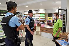 Gendarmes control sanitary security in Fegesheim - 5 May 2020