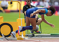 Athletics - 2017 IAAF London World Athletics Championships - Day Three, Morning Session<br /> <br /> 400m Women - Round One<br /> <br /> Allyson Felix (United States) blasts out of her blocks at the start of the race at the London Stadium <br /> <br /> <br /> COLORSPORT/DANIEL BEARHAM