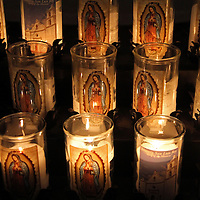 USA, California, Oceanside. Candles of Old Mission San Luis Rey de Francia.