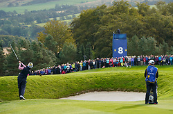 Auchterarder, Scotland, UK. 14 September 2019. Saturday morning Foresomes matches  at 2019 Solheim Cup on Centenary Course at Gleneagles. Pictured; Celine Boutier of Europe approach shot to the 8th green.  Iain Masterton/Alamy Live News