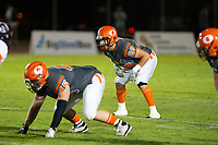 KELOWNA, BC - AUGUST 3:  Brenden Ripco #29 of Okanagan Sun readies to receive the snap against the Kamloops Broncos at the Apple Bowl on August 3, 2019 in Kelowna, Canada. (Photo by Marissa Baecker/Shoot the Breeze)