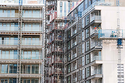"""June 21, 2017 - London, London, UK - Exterior view of almost finished apartment blocks in Kensington Row Complex. It was announced that sixty-eight flats families to be rehoused in the luxury tower blocks which will be available for permanent occupation in July and August.  The one to four bedroom bedroom apartments sell for up to £8.5 million, will be part of the affordable quota being built and feature a more Ã'straightforwardÃ"""" internal specification, but have the same build quality.  The City of London Corporation is acquiring the 68 flats for around £10m as part of the response to the tragedy (Credit Image: © Ray Tang via ZUMA Wire)"""