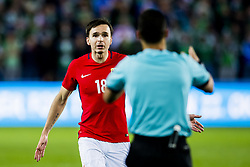 October 8, 2017 - Oslo, NORWAY - 171008 Ole Kristian Seln¾s of Norway reacts next to Serhiy Boiko of Ukraine, referee, during the FIFA World Cup Qualifier match between Norway and Northern Ireland on October 8, 2017 in Oslo..Photo: Fredrik Varfjell / BILDBYRN / kod FV / 150028 (Credit Image: © Fredrik Varfjell/Bildbyran via ZUMA Wire)
