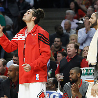 14 March 2012: Chicago Bulls center Joakim Noah (13) and Chicago Bulls power forward Carlos Boozer (5) are seen on the bench during the Chicago Bulls 106-102 victory over the Miami Heat at the United Center, Chicago, Illinois, USA.